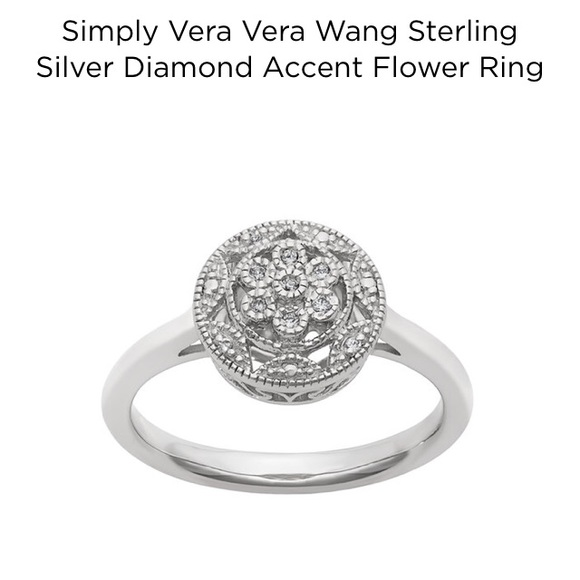 9a62be4763cb1 Vera Wang Diamond Flower Ring 7 1/4